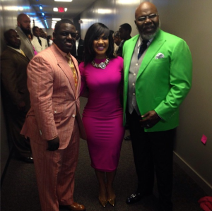 Warryn Campbell on left,  Erica in middle